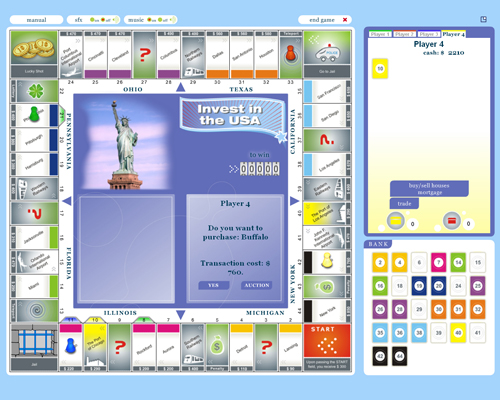 Fascinating  board game, buy and sell properties in the USA and get rich!